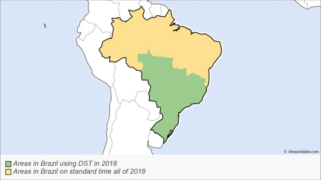 The end of Daylight Savings Time. 2018 map of Brazil showing time change regions.
