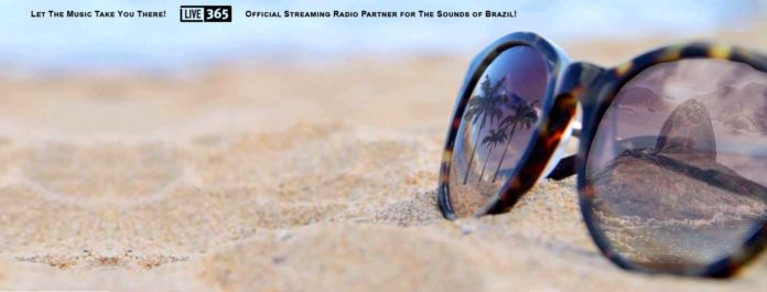 The Seas, the Sun and The Sounds of Brazil. The official logo image for The Sounds of Brazil streaming station at Connectbrazil.com ©